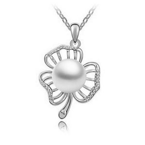 Jewelry - New! 3 Leaf Clover Silver & Pearl Necklace
